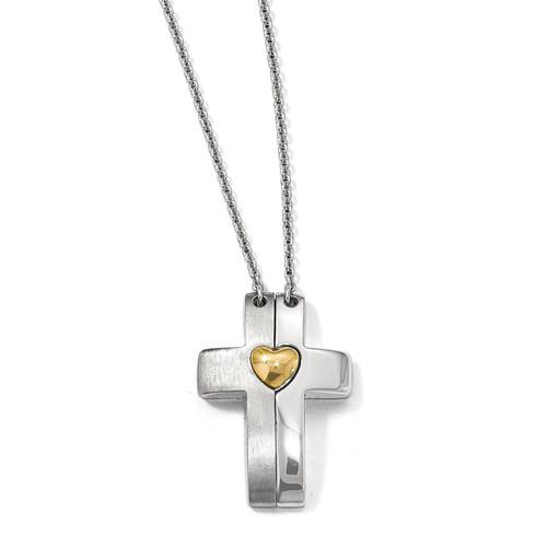 Lex & Lu Sterling Silver Gold-plated Magnetic Cross w/Heart Adj. Necklace LAL116044 - Lex & Lu