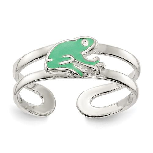 Lex & Lu Sterling Silver Green Enameled Frog Toe Ring - Lex & Lu