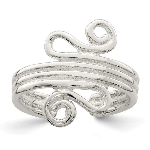Lex & Lu Sterling Silver Polished Scroll Toe Ring - Lex & Lu