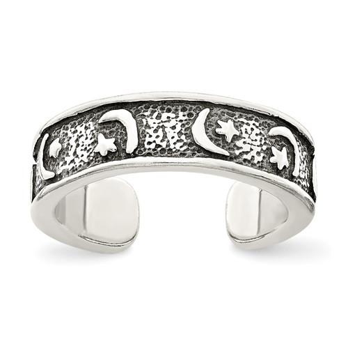 Lex & Lu Sterling Silver Antiqued Moon & Star Toe Ring - Lex & Lu