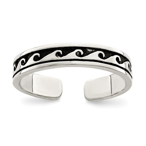 Lex & Lu Sterling Silver Antiqued Adjustable Ring - Lex & Lu
