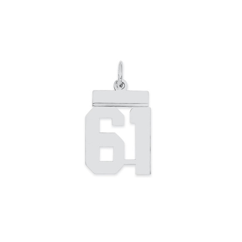 Lex & Lu Sterling Silver Small Polished Number 61 - Lex & Lu