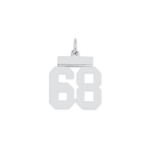 Lex & Lu Sterling Silver Small Polished Number 68 - Lex & Lu