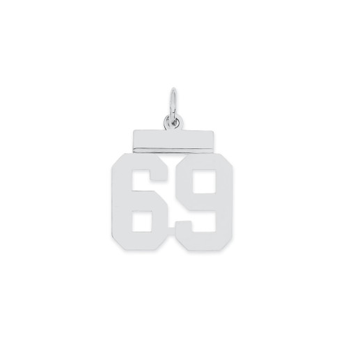 Lex & Lu Sterling Silver Small Polished Number 69 - Lex & Lu