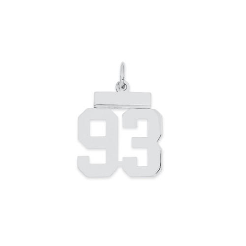 Lex & Lu Sterling Silver Small Polished Number 93 - Lex & Lu