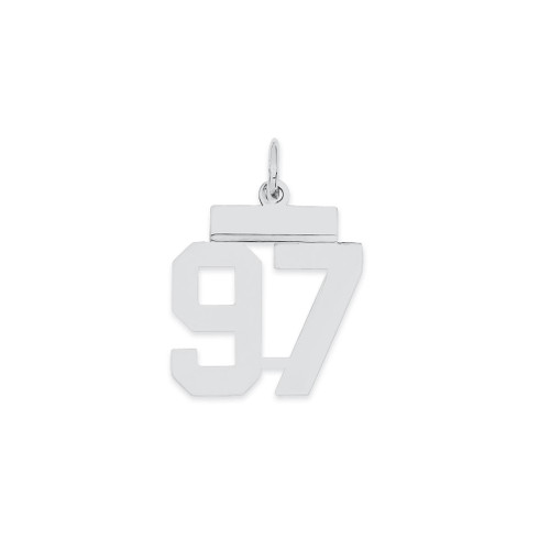 Lex & Lu Sterling Silver Small Polished Number 97 - Lex & Lu