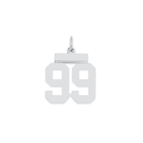 Lex & Lu Sterling Silver Small Polished Number 99 - Lex & Lu