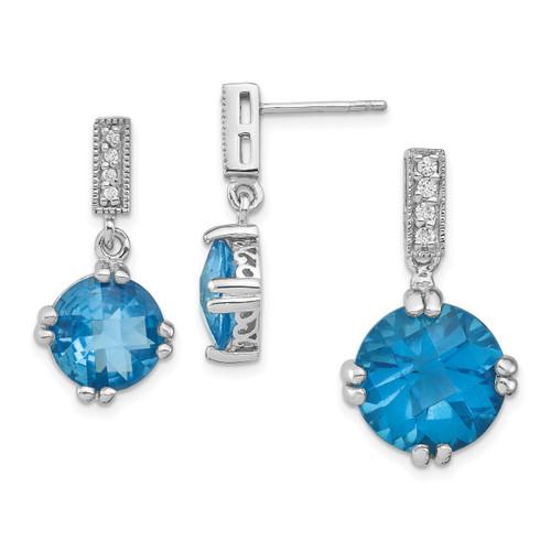 Lex & Lu Sterling Silver w/Rhodium Blue & Clear CZ Pendant & Earrings Set - Lex & Lu