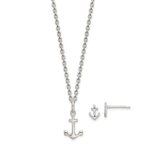 Lex & Lu Sterling Silver Anchor 18'' Necklace & Post Earrings Set - Lex & Lu