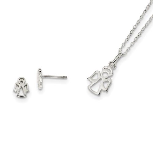 Lex & Lu Sterling Silver Angel 18'' Necklace & Post Earrings Set - Lex & Lu