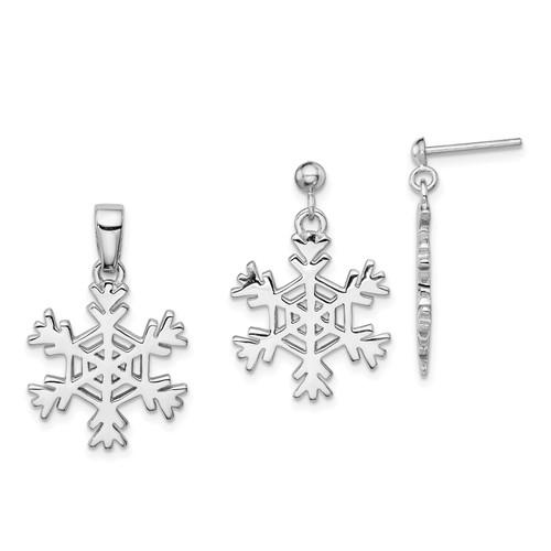 Lex & Lu Sterling Silver Snowflake Earrings and Pendant Set - Lex & Lu