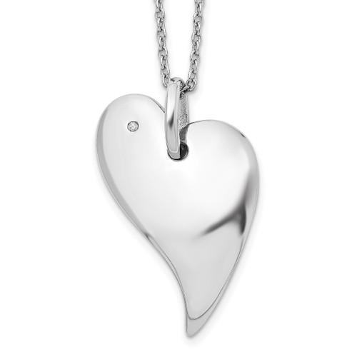 Lex & Lu Sterling Silver White Ice .01ct. Diamond Heart Necklace 18'' - Lex & Lu