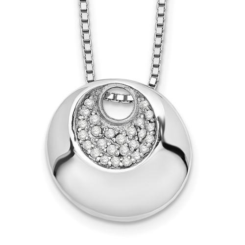 Lex & Lu Sterling Silver White Ice .09ct. Diamond Necklace 18'' - Lex & Lu