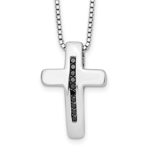 Lex & Lu Sterling Silver White Ice .01ct. Black Diamond Cross Necklace 18'' - Lex & Lu