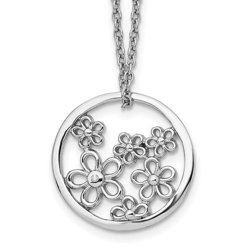 Lex & Lu Sterling Silver White Ice Flower Necklace 18'' - Lex & Lu