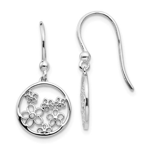 Lex & Lu Sterling Silver White Ice .01ct Diamond Shepherd Hook Earrings - Lex & Lu