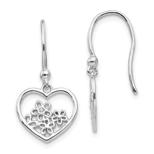 Lex & Lu Sterling Silver White Ice Heart Shaped w/Flower Shepherd Hook Earrings - Lex & Lu