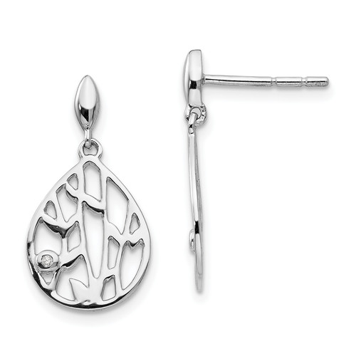 Lex & Lu Sterling Silver White Ice Diamond Leaf Post Dangle Earrings - Lex & Lu