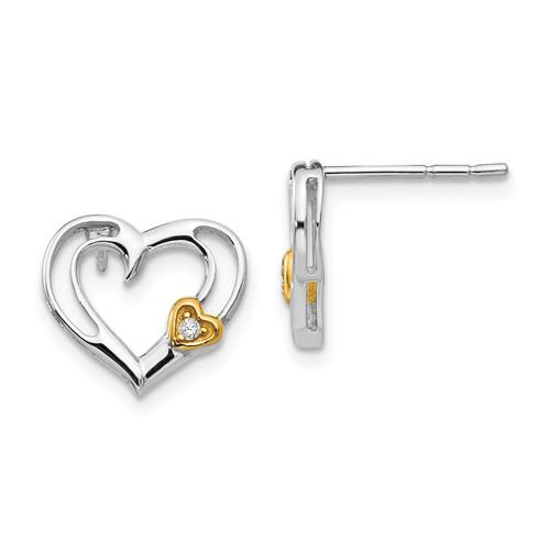Lex & Lu Sterling Silver White Ice Diamond Gold-plated Heart Earrings - Lex & Lu
