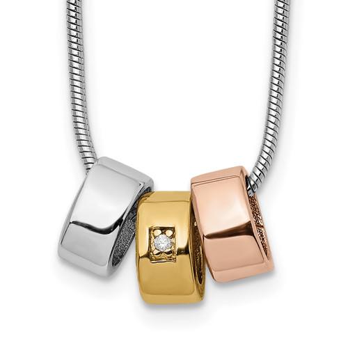 Lex & Lu Sterling Silver Rose & Gold-tone Diamond Necklace 18'' - Lex & Lu