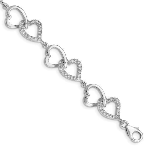 Lex & Lu Sterling Silver CZ Heart Bracelet LAL117227 - Lex & Lu