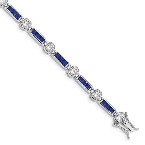 Lex & Lu Sterling Silver Blue and Clear CZ Bracelet LAL117248 - Lex & Lu