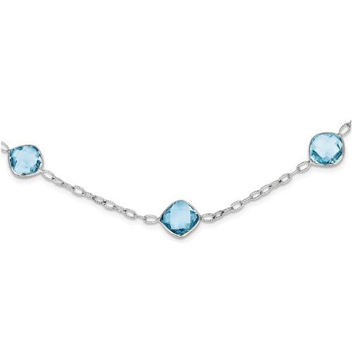 """Lex & Lu Sterling Silver 18"""" Blue Topaz Necklace-Lex & Lu"""