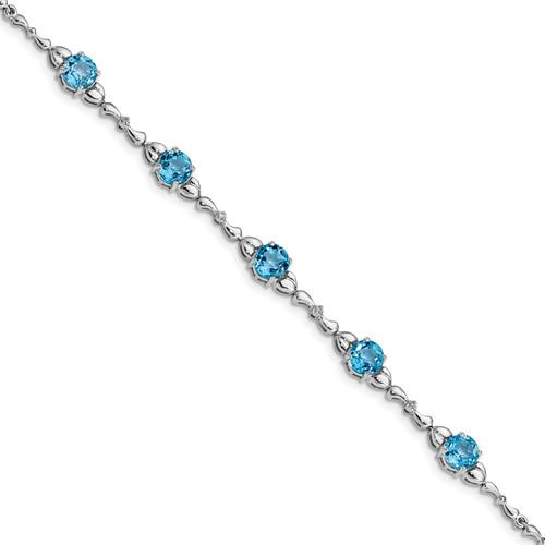 Lex & Lu Sterling Silver Lt. Swiss Blue Topaz & Diamond Bracelet - Lex & Lu