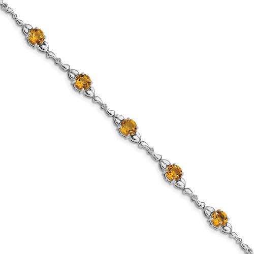 Lex & Lu Sterling Silver Citrine & Diamond Bracelet LAL117459 - Lex & Lu