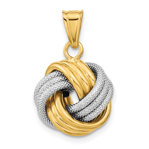 Lex & Lu 14k Two-tone Gold Polished Textured Love Knot Pendant - Lex & Lu