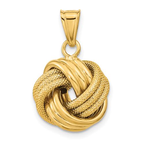 Lex & Lu 14k Yellow Gold Polished Textured Love Knot Pendant - Lex & Lu