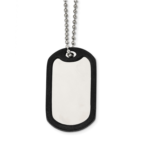 """Lex & Lu Chisel Stainless Steel Removeable Black Rubber Dog Tag Necklace 24""""-Lex & Lu"""