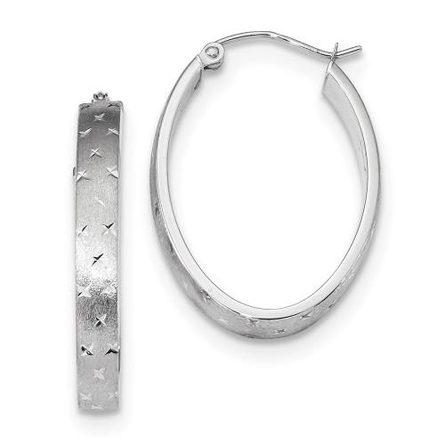 Lex & Lu 14k White Gold Polished, Satin & D/C Hoop Earrings LAL118743-Lex & Lu
