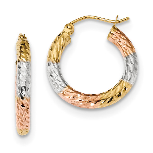 Lex & Lu 14k Yellow Gold w/White & Rose Rhodium & D/C Hoop Earrings LAL118818-Lex & Lu