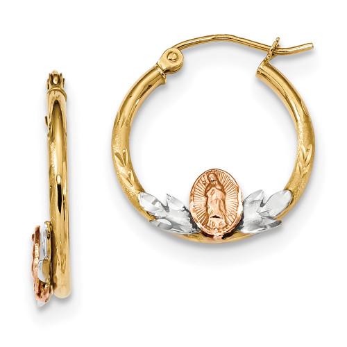 Lex & Lu 14K Tri-color Gold Guadalupe Hoop Earrings LAL118987-Lex & Lu