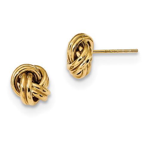 Lex & Lu 14k Yellow Gold Polished Double Love Knot Post Earrings-Lex & Lu