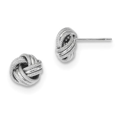 Lex & Lu 14k White Gold Polished Textured Triple Love Knot Post Earrings-Lex & Lu