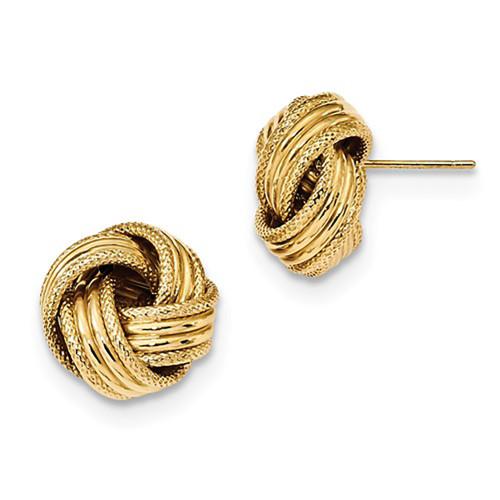 Lex & Lu 14k Yellow Gold Polished Textured Love Knot Post Earrings LAL119176-Lex & Lu
