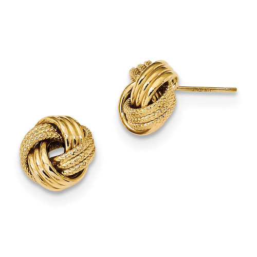 Lex & Lu 14k Yellow Gold Textured Triple Love Knot Post Earrings LAL119177-Lex & Lu