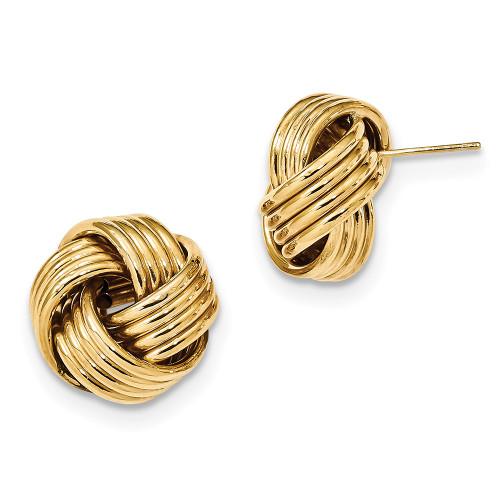 Lex & Lu 14k Yellow Gold Polished Love Knot Post Earrings LAL119182-Lex & Lu