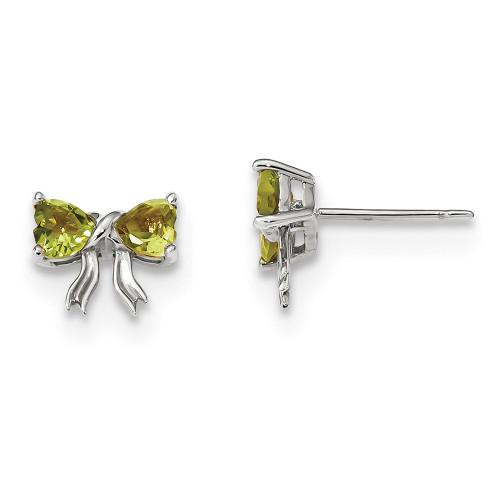 Lex & Lu 14k White Gold Polished Peridot Bow Post Earrings-Lex & Lu
