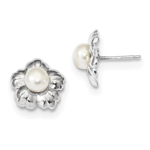Lex & Lu 14k White Gold 5-6mm White Button FWC Pearl Flower Post Earrings - Lex & Lu