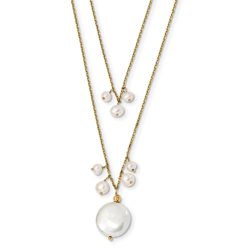 Lex & Lu 14k Yellow Gold 13-14mm Coin & 3-4mm Rice FWC Pearl Necklace 16'' - Lex & Lu