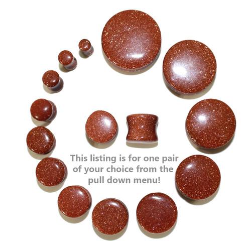 "Lex & Lu Pair of Double Flare Genuine Gold Stone Organic Ear Plugs 10G-1"" Gauge-2-Lex & Lu"