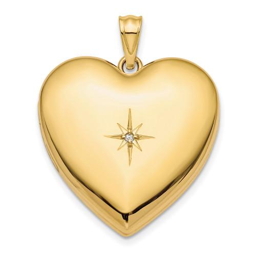 Lex & Lu 14k Yellow Gold 24mm w/Dia. Star Design Ash Holder Heart Locket-Lex & Lu