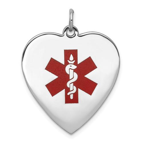 Lex & Lu 14k White Gold Heart-Shaped Enameled Medical Jewelry P LAL119787 - Lex & Lu