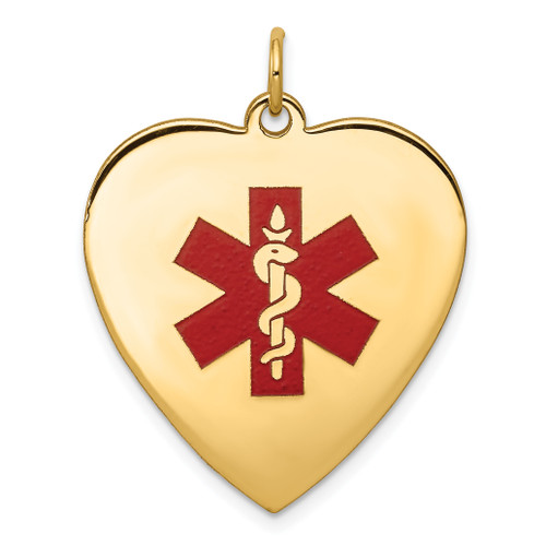 Lex & Lu 14k Yellow Gold Heart-Shape Enameled Medical Pendant LAL119789 - Lex & Lu
