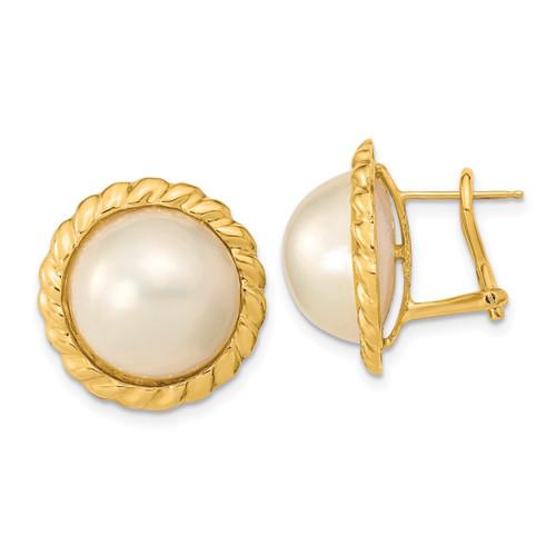 Lex & Lu 14k Yellow Gold White Mabe FWC Pearl Omega Back Earrings LAL119821 - Lex & Lu