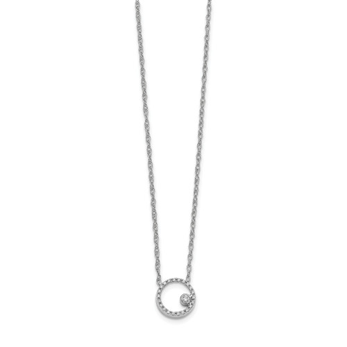 Lex & Lu 14k White Gold Diamond Open Circle Necklace-Lex & Lu