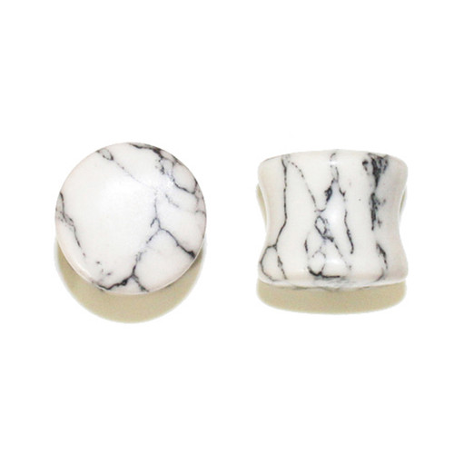 "Lex & Lu Pair of Double Flare Genuine Howlite Stone Organic Ear Plugs 10G-1"" Gauge-Lex & Lu"
